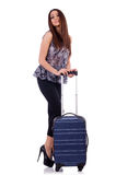Woman with suitcase in travel concept isolated Royalty Free Stock Image