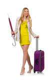 Woman with suitcase and umbrella Stock Photo