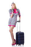 Woman with suitcase  on white Stock Image