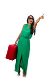 The woman with suitcase  on white Royalty Free Stock Image