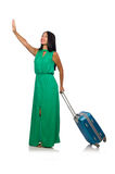 The woman with suitcase  on white Royalty Free Stock Photos