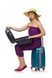 The woman with suitcase  on white Stock Image