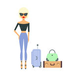 Woman with suitcases. Female tourist. Vector flat illustration. Girl in sunglasses going on vacation Stock Photography