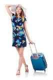 Woman with suitcases Stock Photography