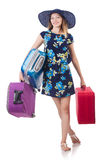 Woman with suitcases Stock Photos