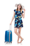Woman with suitcases Royalty Free Stock Images