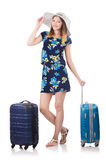 Woman with suitcases Royalty Free Stock Photography