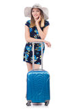 Woman with suitcases Royalty Free Stock Image