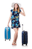 Woman with suitcases Stock Photo