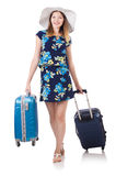 Woman with suitcases Royalty Free Stock Photo