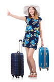 Woman with suitcases Stock Image