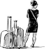Woman with the suitcases Stock Image