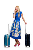 The woman with suitcases on white Royalty Free Stock Photo