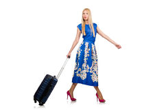 The woman with suitcases on white Royalty Free Stock Photography