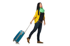 Woman with suitcases on white Stock Images