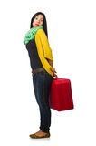 The woman with suitcases on white Royalty Free Stock Photos