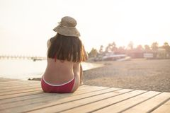 Woman on the summer beach Royalty Free Stock Images