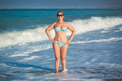 Woman on summer beach. Adult woman on summer beach in Spain Stock Images