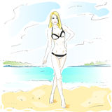 Woman On Summer Beach, Long Leg Blonde Sexy Girl Royalty Free Stock Images