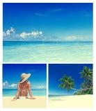 Woman Summer Beach Relaxation Vacation Concept Stock Photos