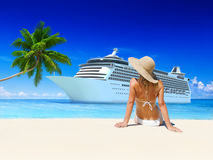 Woman Summer Beach Sunshine Vacation Concept Royalty Free Stock Image