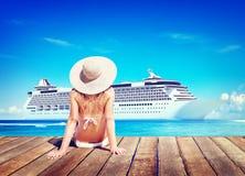 Woman Summer Beach Sunshine Vacation Concept Stock Photography