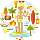 Woman and summer beach vacation elements set in Royalty Free Stock Photos