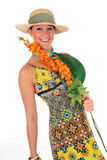 Woman summer clothing flower Stock Photo