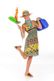 Woman summer clothing flower Stock Image