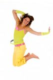 Woman summer clothing jump Stock Photo