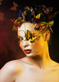 Woman with summer creative make up like fairy butterfly closeup royalty free stock photo