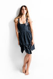 woman in summer dress barefoot royalty free stock photos