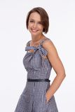 Woman in summer dress with gingham Royalty Free Stock Photos