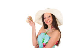 Woman in summer dress with hat and money Stock Photo