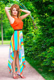 Woman in a summer dress posing Stock Image