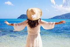Woman in summer dress with  straw hat Royalty Free Stock Photo