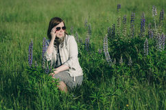 Woman in summer field Royalty Free Stock Image