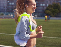 Woman summer fitness workout. Jogging, sport, healthy active li royalty free stock images