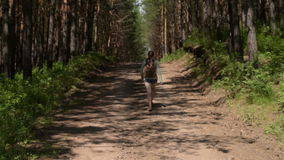 Woman in the summer forest stock footage