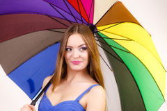 Woman summer girl holds colorful umbrella Stock Photography