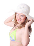 Woman in summer hat  Stock Photo