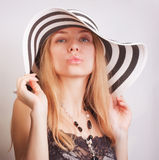 Woman  in a summer hat Royalty Free Stock Photos