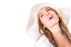 Woman with a summer hat Royalty Free Stock Images