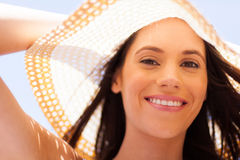 Woman summer hat. Attractive happy young woman under summer hat Stock Photography