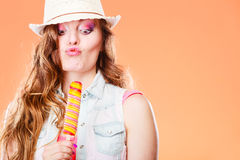 Woman in summer hat eating ice pop cream Royalty Free Stock Photo