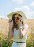 Woman with summer hat Royalty Free Stock Photo