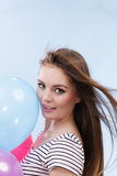 Woman summer joyful girl with colorful balloons Stock Photography