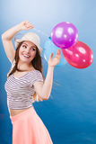 Woman summer joyful girl with colorful balloons Stock Images