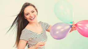 Woman summer joyful girl with colorful balloons Royalty Free Stock Photography