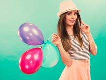 Woman summer joyful girl with colorful balloons Royalty Free Stock Photos